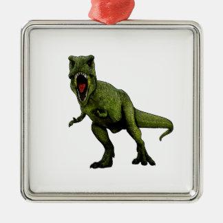 Dinosaures T-Rex Ornement Carré Argenté