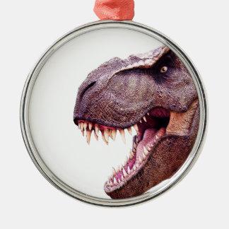 Dinosaures T-Rex Ornement Rond Argenté