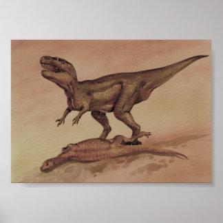 Dinosaures vintages, Giganotosaurus de carnivore Poster