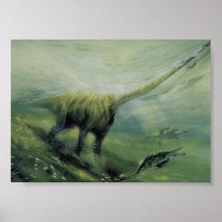 Dinosaures vintages, natation de Brachiosaurus Poster