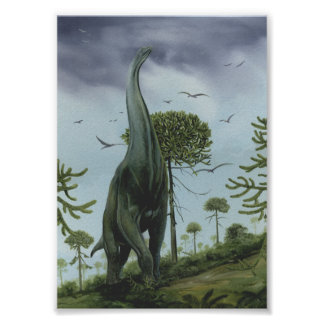 Dinosaures vintages, Sauroposeidon avec voler Poster