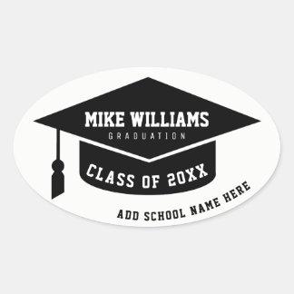 diplômé/diplômé/noir et blanc d'obtention du sticker ovale