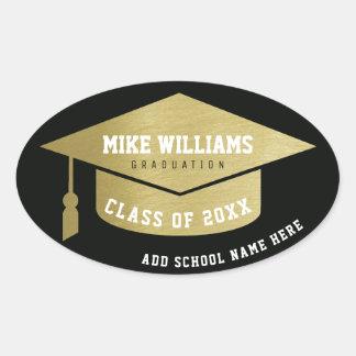 diplômé/diplômé/or/noir faux d'obtention du sticker ovale