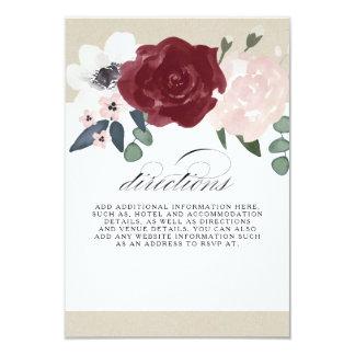 Directions florales romantiques carton d'invitation 8,89 cm x 12,70 cm