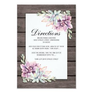 Directions florales succulentes rustiques de carton d'invitation 8,89 cm x 12,70 cm