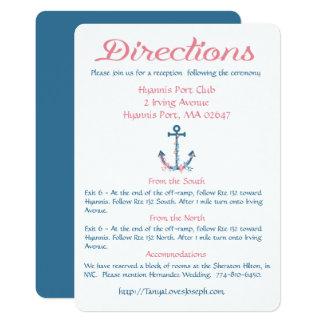Directions nautiques bleues et ancre rose de carton d'invitation  12,7 cm x 17,78 cm