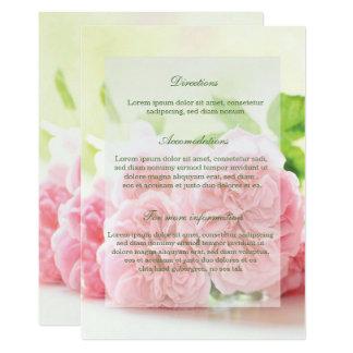 Directions roses de mariage d'été rose élégant carton d'invitation  12,7 cm x 17,78 cm