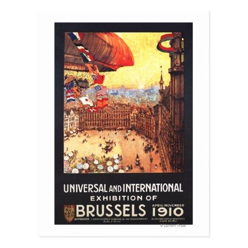 Dirigeable de Lebaudy avec des drapeaux du monde à Carte Postale