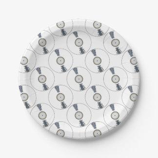 Disque blanc d'arrière - plan assiettes en papier