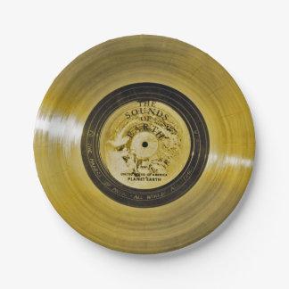 Disque d'or de vaisseau spatial de Voyager Assiettes En Papier