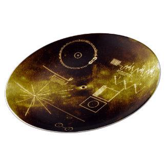 Disque d'or de Voyager Assiette En Porcelaine