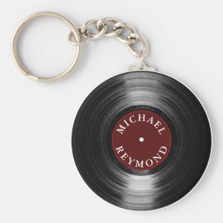 disque vinyle avec mon nom porte-clé rond