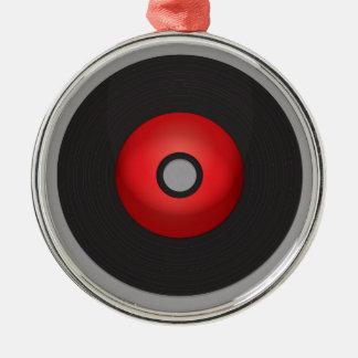 Disque vinyle rouge de vieille école ornement rond argenté
