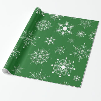 Diverses formes de flocons de neige blancs papier cadeau