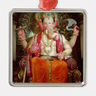 Divinité indoue d'éléphant asiatique de Ganesh Ornement Carré Argenté