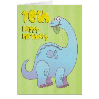 Dixième dinosaure heureux de bleu d'anniversaire carte