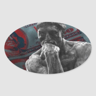 Dollars Auguste Rodin d'argent liquide le penseur Sticker Ovale