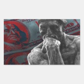 Dollars Auguste Rodin d'argent liquide le penseur Sticker Rectangulaire