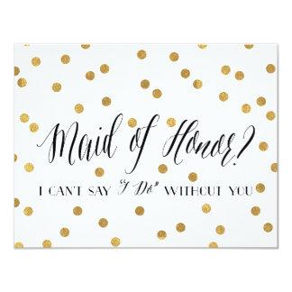 Domestique de confettis de demoiselle d'honneur de carton d'invitation 10,79 cm x 13,97 cm