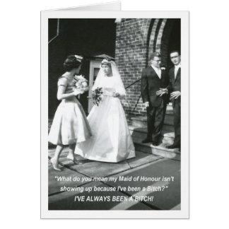 Domestique de jeune mariée d'honneur garce carte