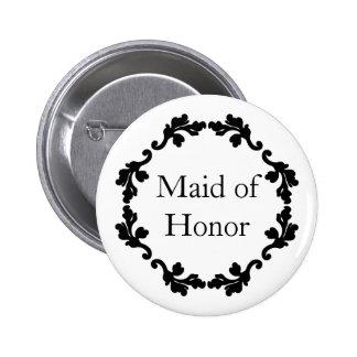Domestique de mariage d'honneur noire et blanche badge rond 5 cm