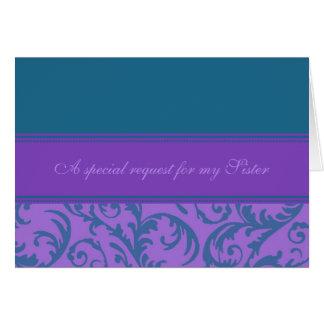 Domestique pourpre turquoise de soeur de carte d'i