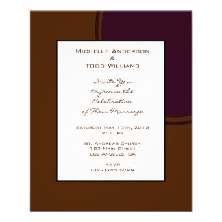 Donker paars en Bruin modern Huwelijk Folder Ontwerp