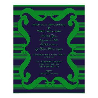 Donkerblauw groen gestreept Huwelijk Fullcolor Folder