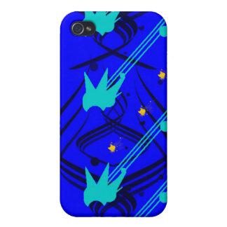 Donkerblauwe Vectoren op het Ware Blauwe Hoesje va iPhone 4 Case