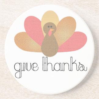 donnez la dinde de thanksgiving de mercis dessous de verre en grès