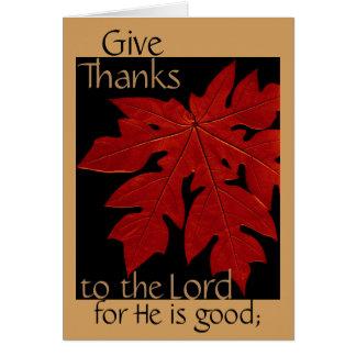 Donnez les mercis au seigneur Thanksgiving Prayer Carte