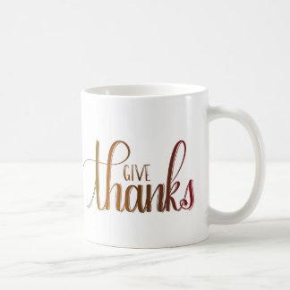 Donnez les mercis, tasse de Handlettered, couleurs
