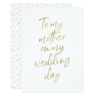 """D'or """"à ma mère mon jour du mariage """" carton d'invitation  12,7 cm x 17,78 cm"""
