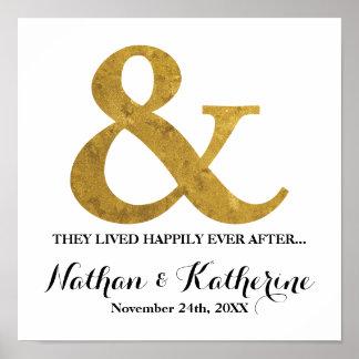 D'or d'esperluète date de mariage heureusement