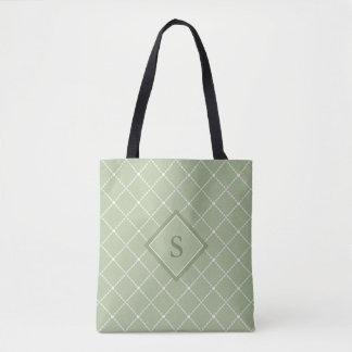 Dos de vert olive avec la forme blanche stylisée sac