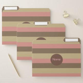 Dossier Brown chic, motif rayé bronzage et rose/nom