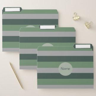 Dossier Verts chics et motif rayé/nom gris