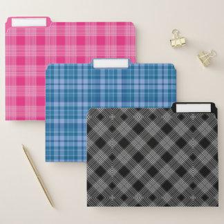 Dossiers Checkered roses de plaid bleu et noir