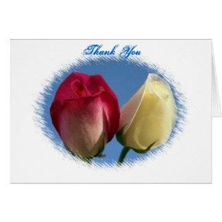 Double carte de note de Merci de roses