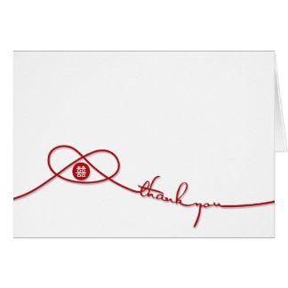 Double carte de remerciements rouge de mariage de