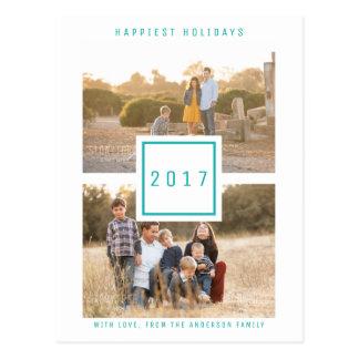 Double carte postale moderne turquoise de vacances