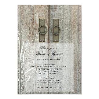 Double invitation de mariage campagnard de portes