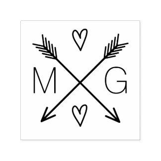 Double logo de mariage de monogramme de coeurs tampon auto-encreur