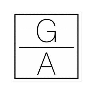 Double logo moderne de mariage de monogramme tampon auto-encreur