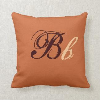 Double monogramme de B en Brown et beige I Oreiller