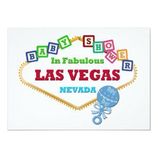 Douche de bébé dans le hochet bleu de carte de Las Carton D'invitation 12,7 Cm X 17,78 Cm