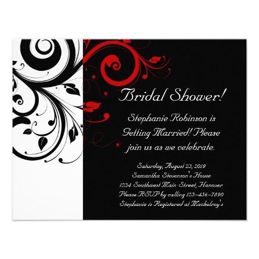 ... remous noir, blanc, rouge/général nuptia invitations personnalisées