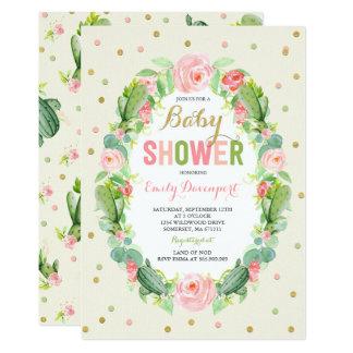Douche de Succulents d'invitation de baby shower Carton D'invitation 12,7 Cm X 17,78 Cm