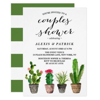 Douche florale de couples de Succulents Carton D'invitation 12,7 Cm X 17,78 Cm