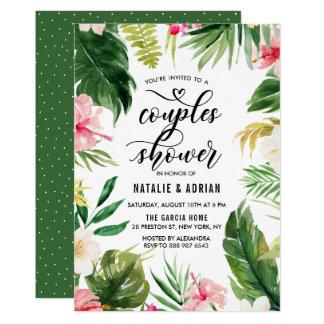 Douche florale tropicale de couples de cadre carton d'invitation  12,7 cm x 17,78 cm